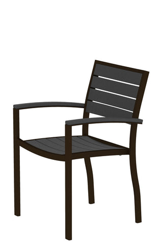 Polywood A200-16GY Euro Dining Arm Chair in Textured Bronze Aluminum Frame / Slate Grey - Peazz.com