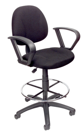 Boss Office Products B1617-BK Boss Drafting Stool W/Footring And Loop Arms - Peazz.com