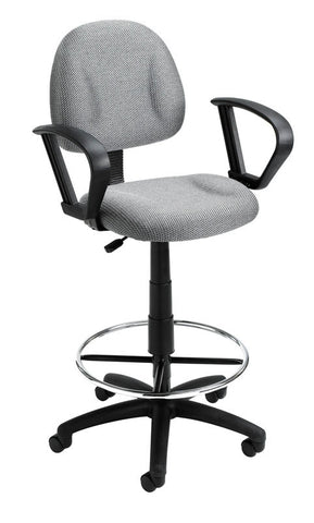 Boss Office Products B1617-GY Boss Drafting Stool (B315-Gy) W/Footring And Loop Arms - Peazz.com