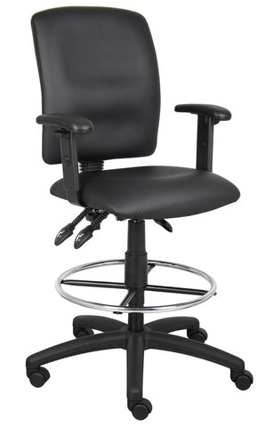 Boss Office Products B1646 Boss Multi-Function Leatherplus Drafting Stool W/ Adjustable Arms - Peazz.com
