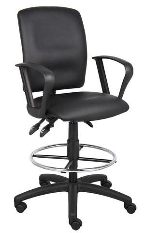 Boss Office Products B1647 Boss Multi-Function Leatherplus Drafting Stool W/ Loop Arms - Peazz.com