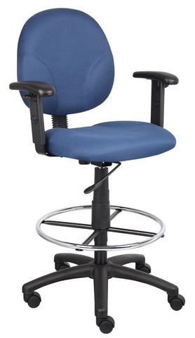 Boss Office Products B1691-BE Boss Blue Fabric Drafting Stools W/Adj Arms & Footring - Peazz.com