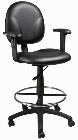 Boss Office Products B1691-CS Boss Black Caressoft Drafting Stools W/Adj Arms & Footring - Peazz.com