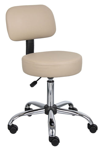 Boss Office Products B245-BG Boss Beige Caressoft Medical Stool W/ Back Cushion - Peazz.com