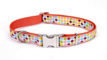 "Ribbon Adj Collar Sm 5/8"" Dots - Peazz.com"