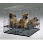 Puppy Playpen w/Plastic Pans and 1/2in Floor Grid 48 5/8L x 25 1/2W x 1 5/8D - Peazz.com