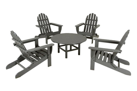 Polywood PWS119-1-GY Classic Adirondack 5-Piece Conversation Group in Slate Grey - PolyFurnitureStore