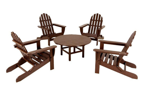Polywood PWS119-1-MA Classic Adirondack 5-Piece Conversation Group in Mahogany - PolyFurnitureStore