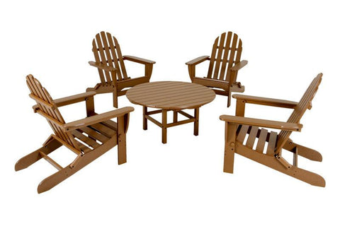 Polywood PWS119-1-TE Classic Adirondack 5-Piece Conversation Group in Teak - PolyFurnitureStore
