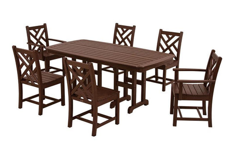 Polywood PWS121-1-MA Chippendale 7-Piece Dining Set in Mahogany - PolyFurnitureStore