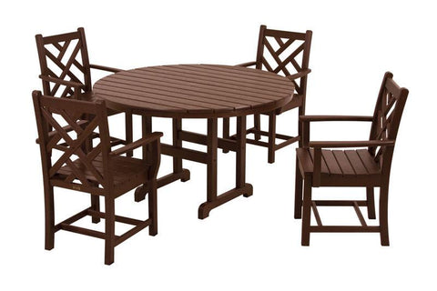 Polywood PWS122-1-MA Chippendale 5-Piece Dining Set in Mahogany - PolyFurnitureStore