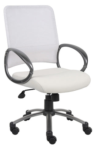 Boss Office Products B6406-WT Boss White Mesh Back W/ Pewter Finish Task Chair - Peazz.com