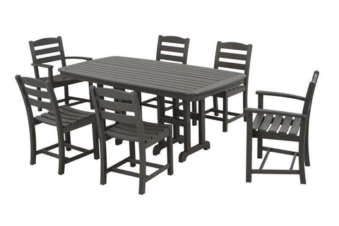 Polywood PWS131-1-GY La Casa Café 7-Piece Dining Set in Slate Grey - PolyFurnitureStore