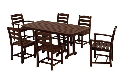 Polywood PWS131-1-MA La Casa Café 7-Piece Dining Set in Mahogany - PolyFurnitureStore