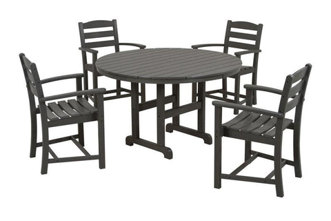 Polywood PWS132-1-GY La Casa Café 5-Piece Dining Set in Slate Grey - PolyFurnitureStore