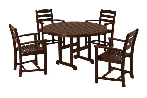 Polywood PWS132-1-MA La Casa Café 5-Piece Dining Set in Mahogany - PolyFurnitureStore
