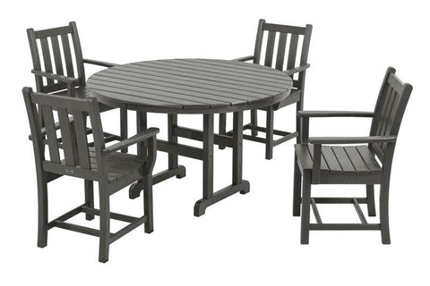 Polywood PWS134-1-GY Traditional Garden 5-Piece Dining Set in Slate Grey - PolyFurnitureStore