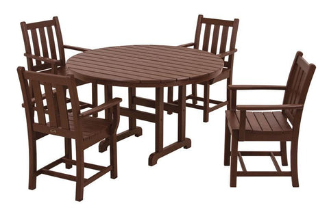 Polywood PWS134-1-MA Traditional Garden 5-Piece Dining Set in Mahogany - PolyFurnitureStore