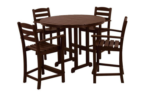 Polywood PWS143-1-MA La Casa Café 5-Piece Counter Set in Mahogany - PolyFurnitureStore