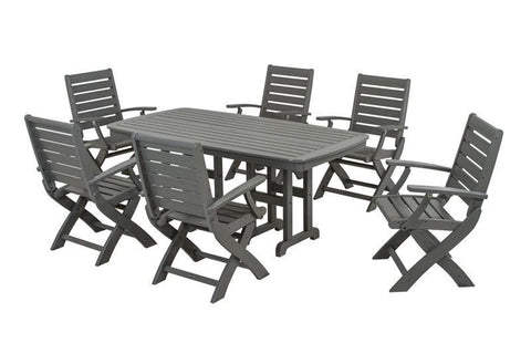Polywood PWS151-1-GY Signature 7-Piece Dining Set in Slate Grey - PolyFurnitureStore