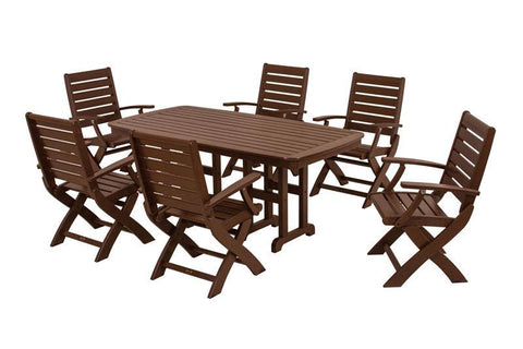 Polywood PWS151-1-MA Signature 7-Piece Dining Set in Mahogany - PolyFurnitureStore