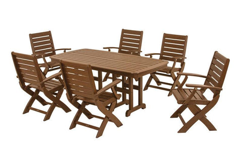 Polywood PWS151-1-TE Signature 7-Piece Dining Set in Teak - PolyFurnitureStore