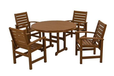 Polywood PWS152-1-TE Signature 5-Piece Dining Set in Teak - PolyFurnitureStore