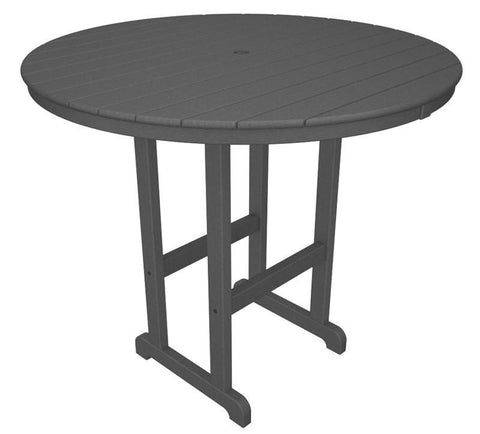 "Polywood RBT248GY Round 48"" Bar Table in Slate Grey - PolyFurnitureStore"