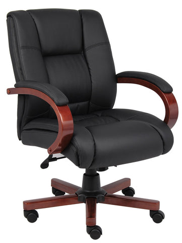 Boss Office Products B8996-C Boss Mid Back Executive Wood Finished Chairs - Peazz.com