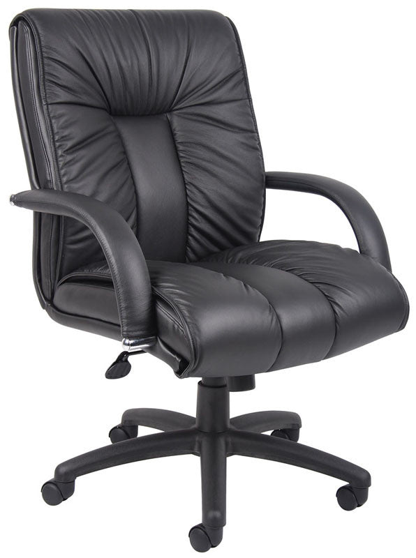 Boss Office Products B9306 Boss Italian Leather Mid Back Executive Chair
