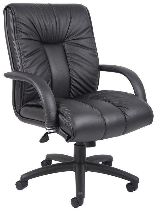 Boss Office Products B9307 Boss Italian Leather Mid Back Executive Chair W/ Knee Tilt