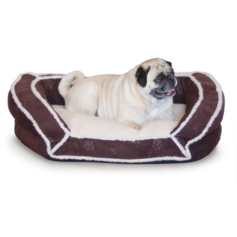 "K&H Pet Products KH7317 Deluxe Bolster Couch Small Eggplant Paw 21"" x 30"" x 7"" - Peazz.com"