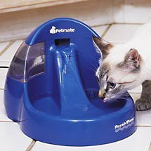 Fresh Flow Pet Fountain Planet Blue Medium 13.5 x 7 x 9 - Peazz.com