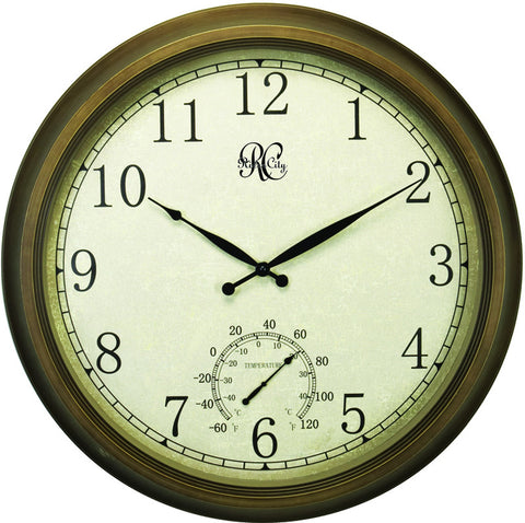 24 Inch Indoor/Outdoor Clock with Brass Colored Finish, Time, & Temperature - Peazz.com