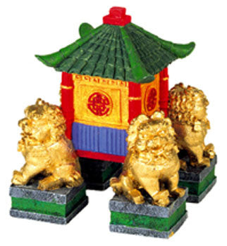 Resin Ornament - Garden Pagoda With Fu Dogs - Peazz.com