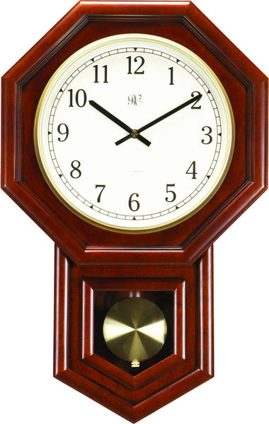 Radio-Controlled Schoolhouse Clock with Swinging Pendulum and Cherry F