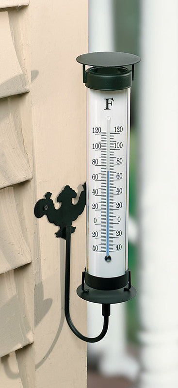 Indoor / Outdoor Wall Mount Thermometer with Black Metal Frame - 12