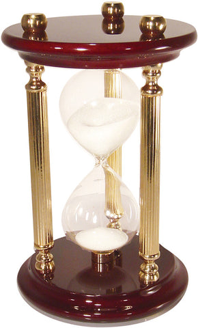 15 Minute Sand Timer with High Gloss Wood & Brass Spindles - 8 Inches Tall - Peazz.com