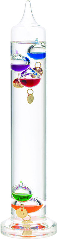 13 Inch Liquid Galileo Thermometer with Five Multi-Color Floats and Gold Tags