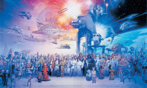 Star Wars Saga Chair Rail Prepasted Mural 6' x 10.5' - Ultra-strippable (JL1230M) - Peazz.com