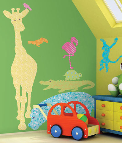 Animal Silhouettes (Colors) Peel & Stick Giant Wall Decals (RMK1327SLG) - Peazz.com