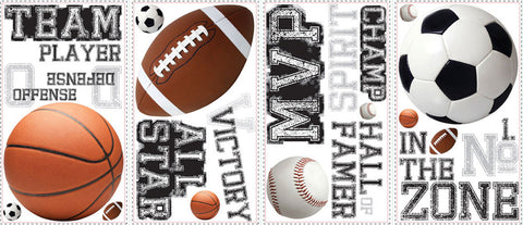 All Star Sports Saying Peel & Stick Wall Decals (RMK1705SCS) - Peazz.com