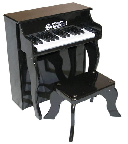 Schoenhut 25 Key Elite Spinet Upright Piano - Black 2505B - Peazz.com