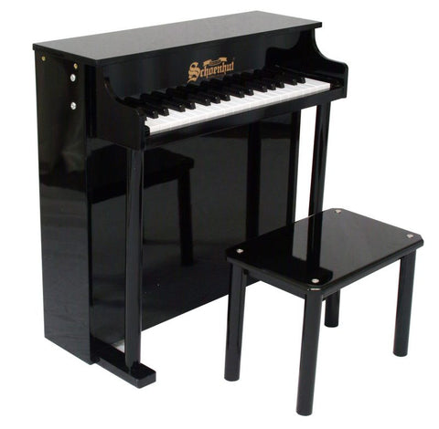 Schoenhut 37 Key Traditional Deluxe Spinet Upright Piano - Black 6637B - Peazz.com
