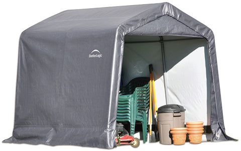 ShelterLogic 70423 Shed-in-a-Box 8x8x8 ft.  Peak Style Storage Shed- Gray - Peazz.com