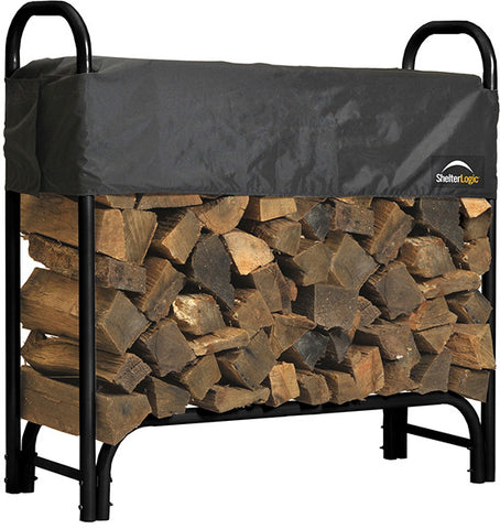 ShelterLogic 90401 Firewood Rack-in-a-Box Heavy Duty Rack with Cover - 4 ft. - Peazz.com