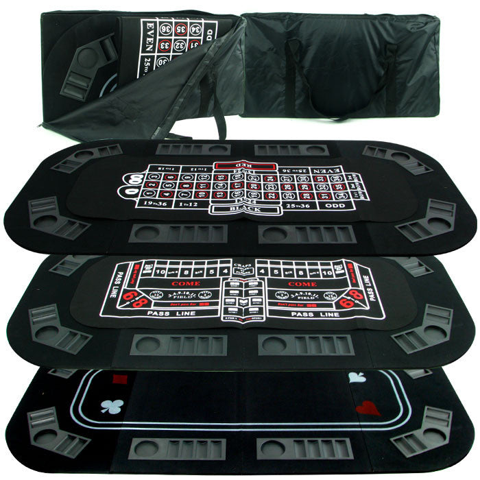 Superior 3 in 1 Poker/Craps/Roulette Tri Fold Table Top