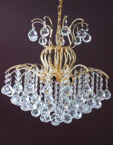 Audrey 6 Light Crystal Chandelier, Gold Finish - Peazz.com