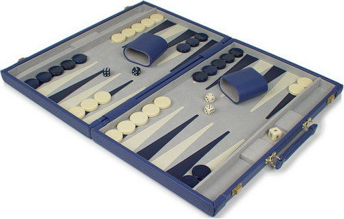 TCS Deluxe Blue Leatherette Backgammon Set - Small