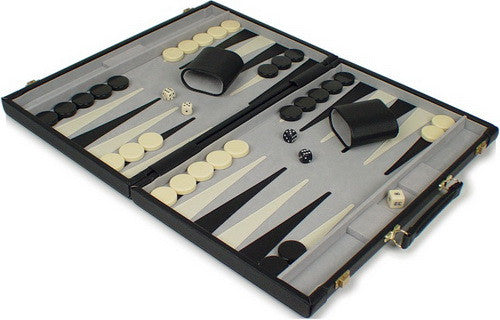 TCS Deluxe Black Leatherette Backgammon Set - Small